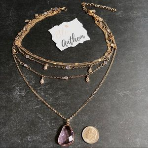 Jewelry - 3/$25⚡️multilayered gem w/ charms choker necklace